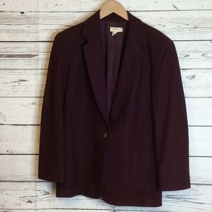 J.Crew plum single button wool blend blazer